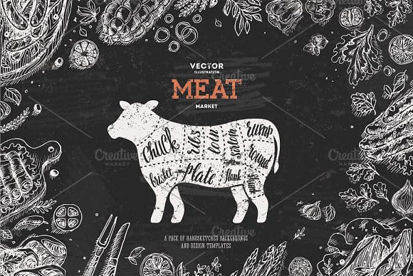 Meat backgrounds & design templates (Turbo Premium Space)