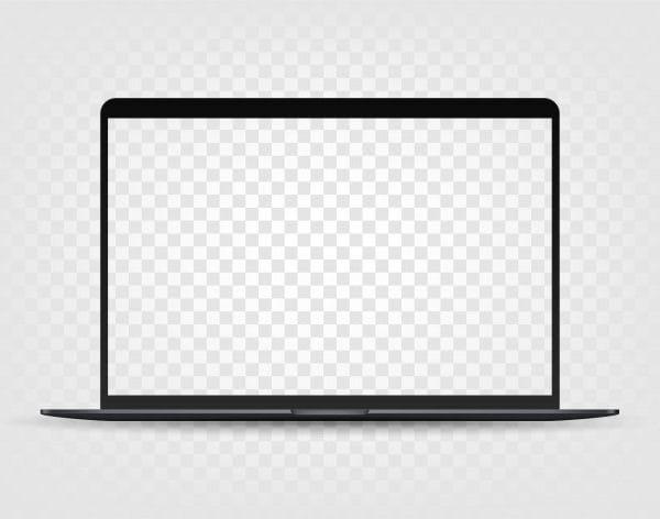 Modern laptop with transparent screen