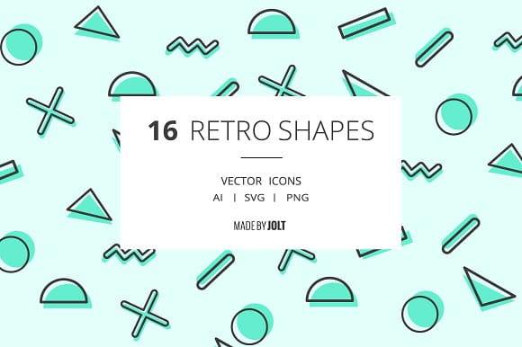 90s inspired Retro Shape Icons (Turbo Premium Space)