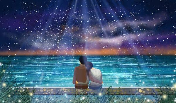 Seaside Dream Couple Illustration