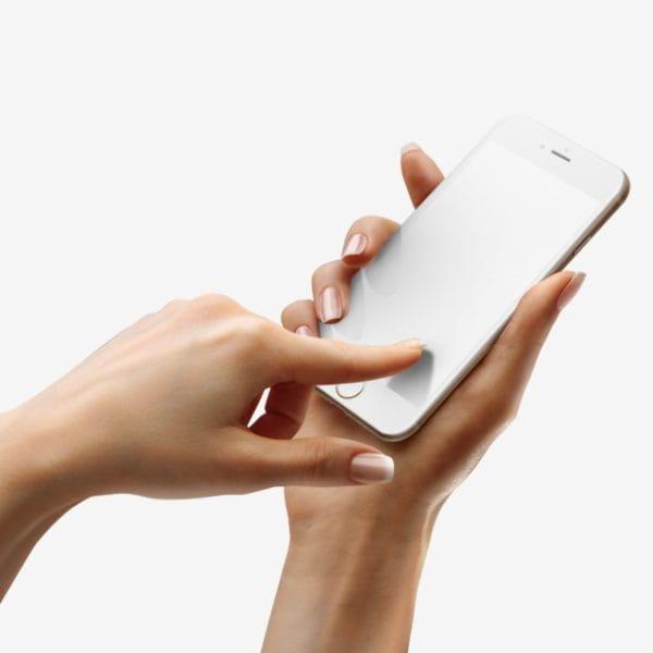 Touching Iphone 8 White Mockup (Turbo Premium Space)